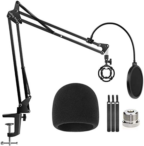Desk Microphone Stand for Blue Yeti and Blue Yeti Pro,Mic Boom Arm Stand with Mic Windscreen and Double Layered Screen Pop Filter Heavy Duty Mic Boom Scissor Arm,Broadcasting and Recording