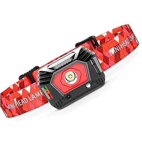 Faro USB, COB Faro de 300 lúmenes Ultra Brillante USB Recargable Faro, Sensor de Movimiento con luz indicadora de 3 Modos de la Cabeza de la lámpara