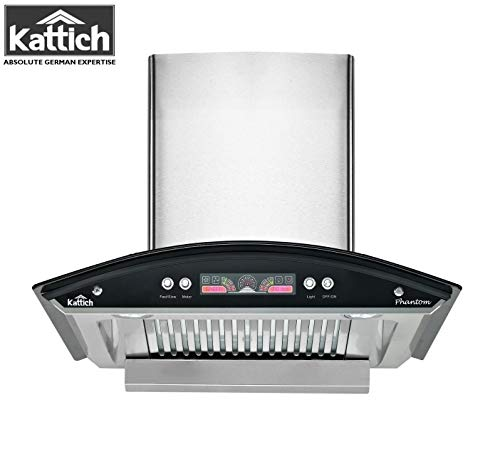 KATTICH PHANTOM 60 cm Latest Design Chimney with Oil Collector for Kitchen with 1300 m3/h Suction, Simply Silent Technology, Dual Baffle Filters, Dual LED Light (Silver)