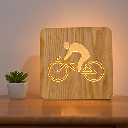 FULLOSUN Bike Riding Wood Bedside Lamp, 3D Illusion Optical Night Light,Personalized LED Bedroom Decor Best Valentine's Day Wedding Birthday Gifts for Girl Friends Women