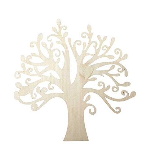 Pixnor, 10 sagome di albero in legno grezzo per découpage, libri degli ospiti Natale, matrimoni, alberi genealogici