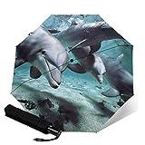 Ombrello da viaggio con delfino, sole e pioggia, leggero e compatto, con protezione UV per uomini e donne, colori multipli