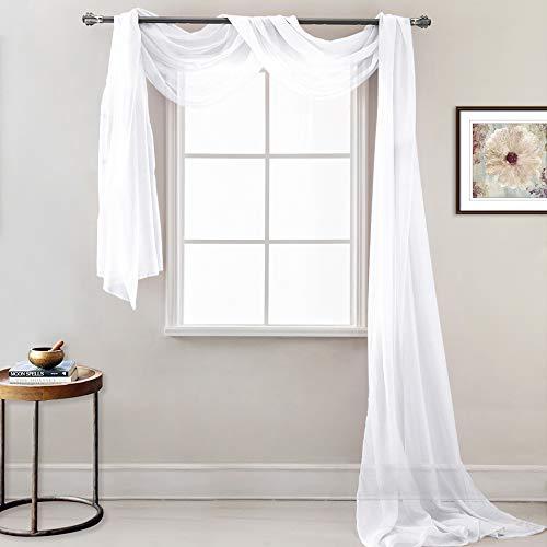 PONY DANCE Voile Vorhang Transparent - Querbehang Stores Gardinen Schals Himmelbett/Hochzeit Dekoschals Vorhänge, 1 Stück H 548 x B 152 cm, Weiß