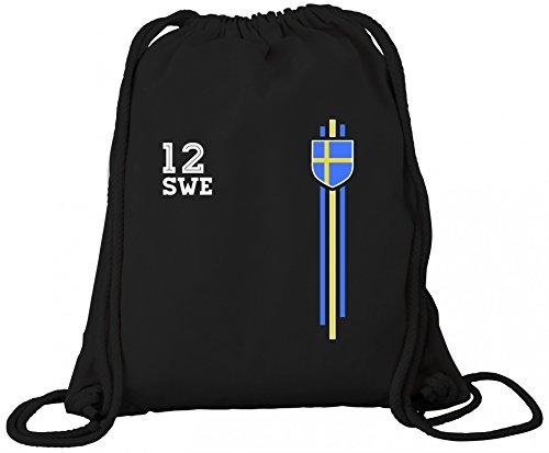 Sverige Sweden World Cup Fussball WM Fanfest Gruppen Premium Bio Baumwoll Turnbeutel Rucksack Stanley Stella Streifen Trikot Schweden, Größe: onesize,Black