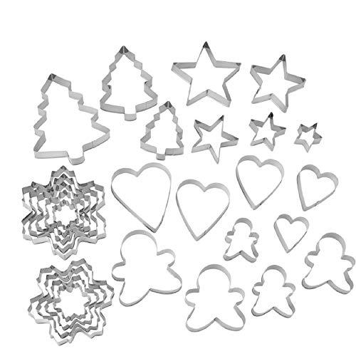 Ausstechformen, Ausstecher Set, 27 Stück, alle wichtigen Motive für die Weihnachtsbäckerei, Weihnachtsbaum, Lebkuchenmann, Schneeflocke, Stern, Herz, Edelstahl