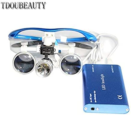 TDOUBEAUTY Portable Dental Binocular Loupes 3.5X 420mm + LED Head Light Lamp (Blue)