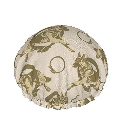 Gorro de ducha para mujer, doble capa, impermeable, diseño de forro de Eva, para mujeres, niñas, spa, uso en el hogar, hotel y peluquería (cuello saltando, retratos de perro pastor alemán, bronceado)