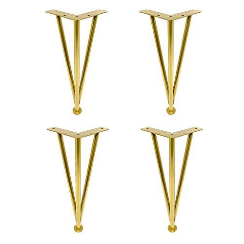 Patas de mueble de baño ajustables de alta calidad doradas / negras Patas de soporte de acero inoxidable Patas de soporte para muebles de mueble de baño para lavabo 4 paquetes (con tornillos d