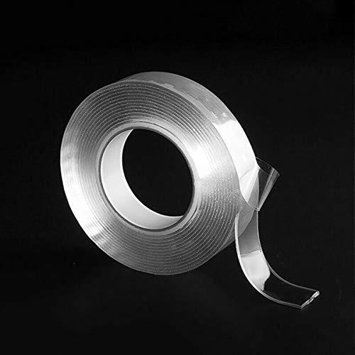 Universeel transparant nano-tape, dubbelzijdig zonder sporen te wassen plakband 2 mm x 30 mm x 2 m anti-slip muursticker voor thuis, fotolijst, glas, tapijt