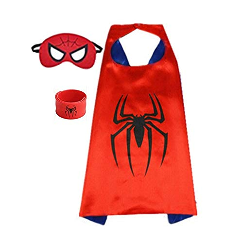 Superhero Capes for Kids, Dress up Costumes-Satin Cape and Felt Mask with Bracelet (Spider-Man) Red