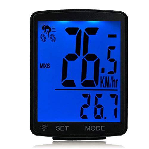 Lurowo Fahrradcomputer Mit Groß LCD Bildschirm Kabellos 20 Funktionen MTB Fahrradtacho Kilometerzähler Geschwindigkeitsmesser Wasserdicht,3,15''X2,1''X0,73 '',Blau Hintergrundbeleuchtung