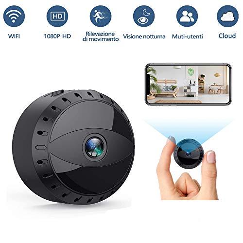 Mini Microcamere Spia, Tesecu Microcamera Spia 1080P HD Bottone Nascosta Telecamera WiFi IP Wireless Rilevamento di Movimento Portatile Videocamera con Visione Notturna Video Registratore