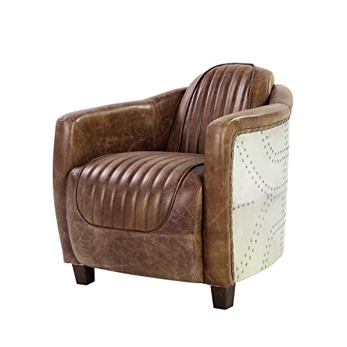 ACME Brancaster Chair - - Retro Brown Top Grain Leather & Aluminum