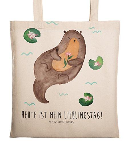 Mr. & Mrs. Panda Beutel, Baumwolltasche, Tragetasche Otter mit Seerose mit Spruch - Farbe Transparent