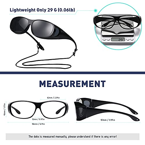 Soobes 4 in 1 Wraparound Fitover Sunglasses magnetic Clip-on night vision driving glasses polarized UV400 protection Magnifying blue light blocking lens for men and women