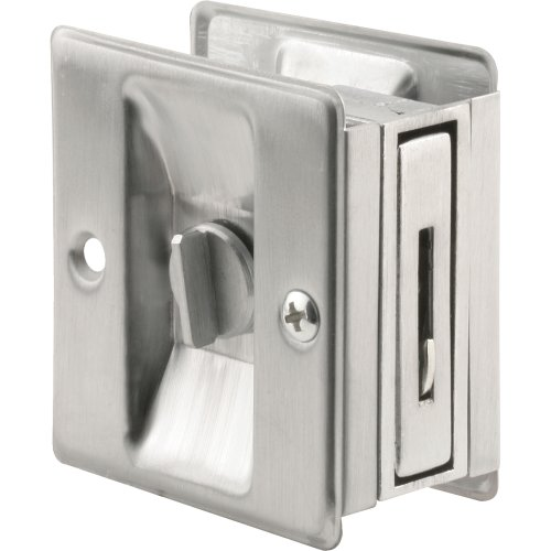 Prime-Line Products N 7161 Pocket Door Privacy Lock with Pull, Satin Chrome