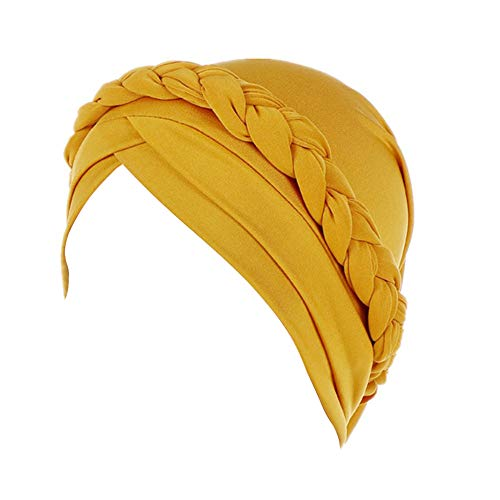 Fxhixiy Hijab Braid Silky Turban Hats for Women Cancer Chemo Beanies Cap Headwrap Headwear, Yellow, Free Size