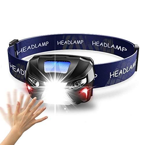 NGHSDO Linterna Frontal Lámpara de luz de la Cabeza de la Linterna 7000lm del Sensor de Movimiento de Gran Alcance de Faros LED Recargable Linterna de la antorcha Que acampa Cuerpo con USB 128