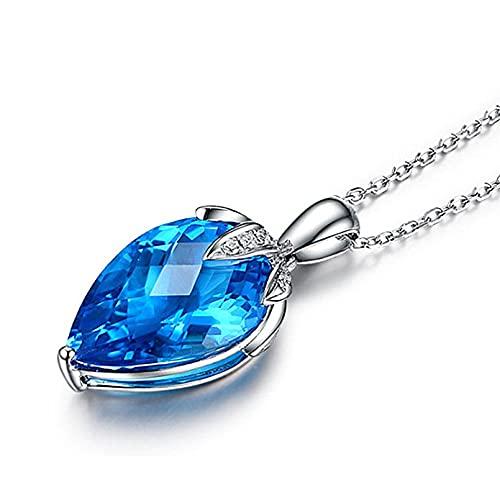 N/A Collar Mujer Azul Cristal Colgante Regalo para Ella