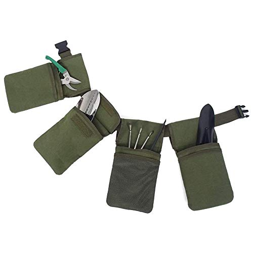 BETTERLE Gürteltasche Gartengerätegürtel mit 4 Taschen, Gartenwerkzeug, Garten-Hüfttasche zum Aufhängen, Zange und Schlüssel, Grün