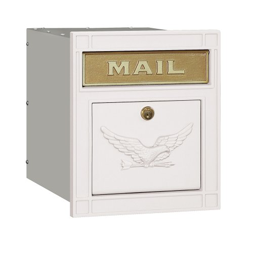 Salsbury Industries 4145E-WHT Cast Aluminum Column Mailbox Locking Eagle Door, White