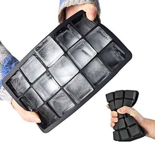 Smartsupply24 2er Set Eiswürfelform Silikon, 15-Fach Eiswürfelschalen, 30mm EXTRA GROßE Eiswürfel, Eiswürfelbehälter Ice Cube Tray perfekt geeignet zum Kühlen von Getränken