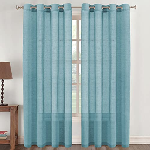 Flamingo P Natural Linen Blended Curtains 84 Inches Length 2 Panels Textured Woven Linen Sheer Curtain Drapes for Living Room/Bedroom Light Filtering Casual Window Grommet Draperies - Turquoise