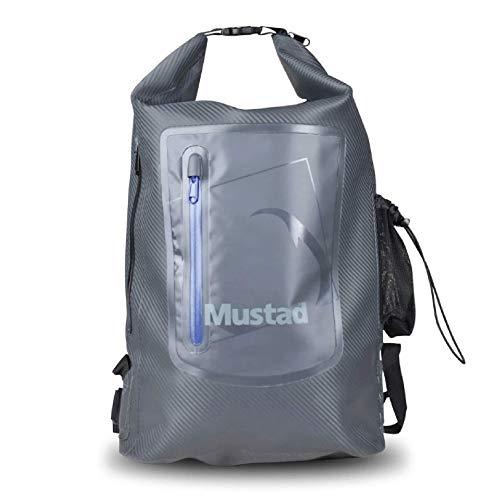 Mustad Dry Backpack 30L, Water-resistant 500-Denier Tarpaulin, Easy-Adjust Shoulder Straps w/Breathable, Mesh Lower Back, Grey/Blue