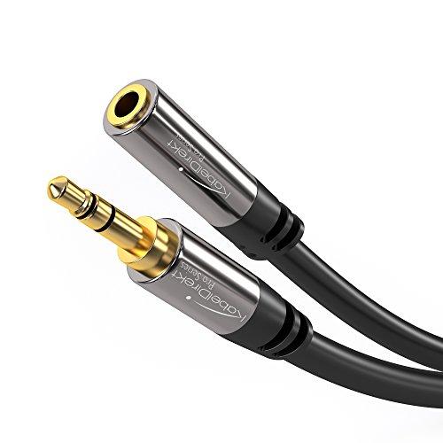 KabelDirekt – 3 m – Kopfhörer-Verlängerungskabel, 3,5-mm-Klinken-Verlängerung (Aux-Audiokabel, Klinkenstecker/Klinkenbuchse, nahezu unzerstörbares Metallgehäuse, ideal für Kopfhörer, schwarz)