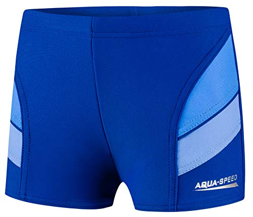 Aqua Speed Badehosen eng Kinder Jungen | Kurze Schwimmhose Jungs | Blaue Schwimmbekleidung | Blue Swimwear Boy | Swimsuit mit UV-Schutz | Trunks | Swimming | 42. Navy - Blau Gr. 134 | Andy