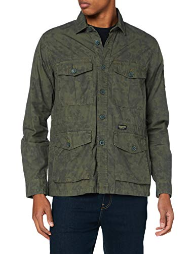 Superdry LS 4 Pocket Field Edition Camicia, Verde (Leopard Camo AOP 3bx), L Uomo