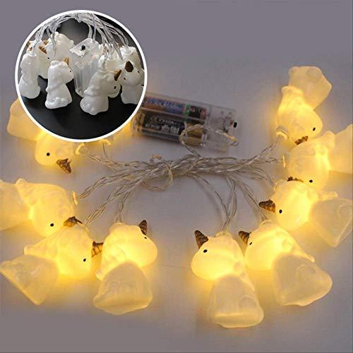 No brand 3d eenhoorn LED slinger Kerstmis lichtsnoer Indoor DIY huis Nieuwjaar decoratie batterij lamp 1,5 mt 10 LED's geel