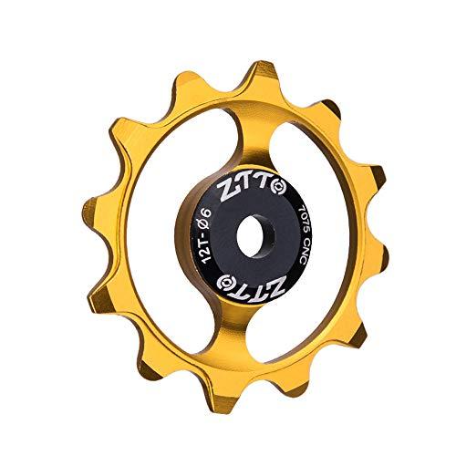 Leeofty Bicycle Guide Wheel 12T Tooth Ceramic Bearing Mountain Road Vehicle Aluminum Alloy Rear Steering Wheel Bicycle Rear Derailleur Narrow Wide Ceramic Bearing