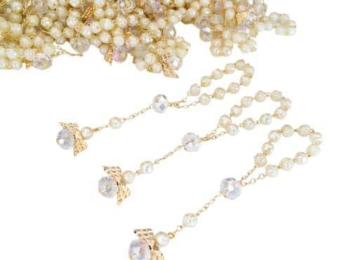 San Joaquin Creations - Juego de 26 rosarios para bautizo, color marfil, con ángeles pequeños, abalorio acrílicas bañadas en oro, Recuerdos de Bautizo, recuerdos de bautizo, decenarios, regalos de comunión y rosari para dedo
