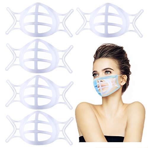 Upgrade 3D Mask Bracket,under Mask Insert Bracket, Silicone Face Mask Inner Support Frame, for masks protection Lipstick, Cool Mask Guard with Hooks for Fastening Mask, Nose Breathing smoothly white 5 Pack