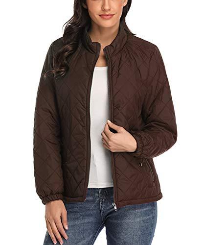 Dilgul Damen Jacke Steppjacke Leicht Herbst Winter Jackets Stehkragen Winddicht Warm Mantel mit Tasche Braun X-Small