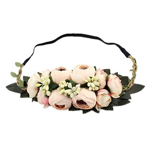 YAZILIND Rosa Bud flor wreath boda novia garland vacaciones tocado estiramiento diadema...