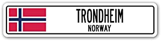 Trondheim, Norway Street Sign Norwegian Flag City Country Road Wall Gift