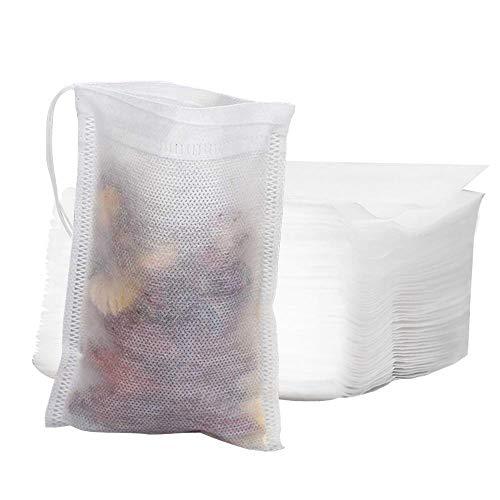 Mila-Amaz 200 Pcs Bolsas de Té Cordón, Desechables Filtro Bolsita de Té Bolsas de Filtro de Papel para Té de Hojas Sueltas
