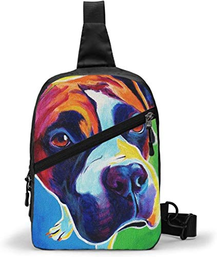 Colorido bolso boxeador para perro con retrato de mascotas, bandolera para exteriores, senderismo, viajes, bolsa de bolsillo personal para mujeres, hombres, resistencia al agua