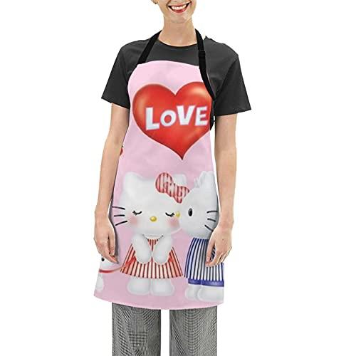 Hello Cartoon Kitty Grembiule impermeabile, cintura regolabile, adatto per chef da donna e uomo, barbecue cucina casa