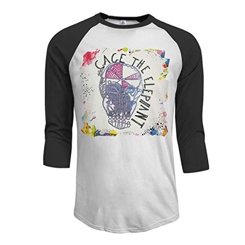 Pimkly Camisetas y Tops,Polos y Camisas Hombres Cage The Elephant 3/4 Sleeve Raglan Baseball Tshirt Black