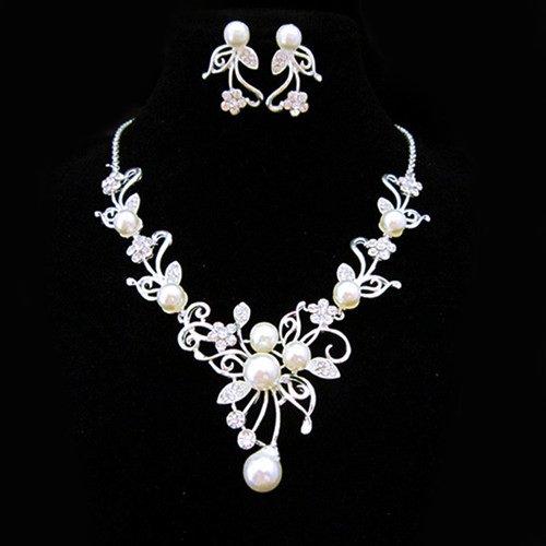 Miya Parure affascinante composta da collana in argento con cristalli e gradevole perla di grandi dimensioni, con fiori, orecchini eleganti, parure da sposa, gioielli per matrimonio o da serata