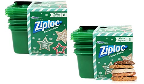 Holiday Storage Containers, Ziploc Square Plastic Containers With Lids,...