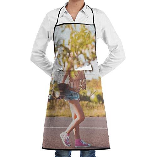 Katrine StoreSummer Ride Longboard Girl Kostenlose Stock Fotos Personalisierte Kochschürze mit Pocket Unisex Geeignet für Küchenchef