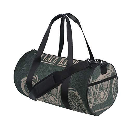 PONIKUCY Sporttasche Reisetasche,Das Motorrad, das getragen Wird, sterben Zitat mit Fahrrad auf Schmutz Effekt Dunkelheit farbigem Hintergrund,Schultergurt Handgepäck für Übernachtung Reisen
