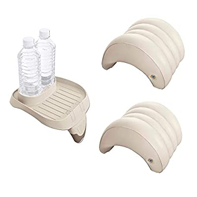 Intex Attachable Cup Holder & Refreshment Tray & Inflatable Headrest (2 Pack)