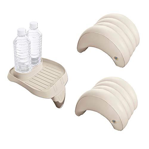 Intex Soporte de taza y bandeja de refrescos y reposacabezas inflable (paquete de 2)