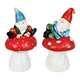 """Exhart Garden Gnomes Sitting on Mushroom Garden Statues – Set of Two Funny Gnome Garden Decorations or Planter Decor– Weather Resistant & Hand Painted Gnome Statue for Home or Garden, 4.5""""x4""""x7"""""""