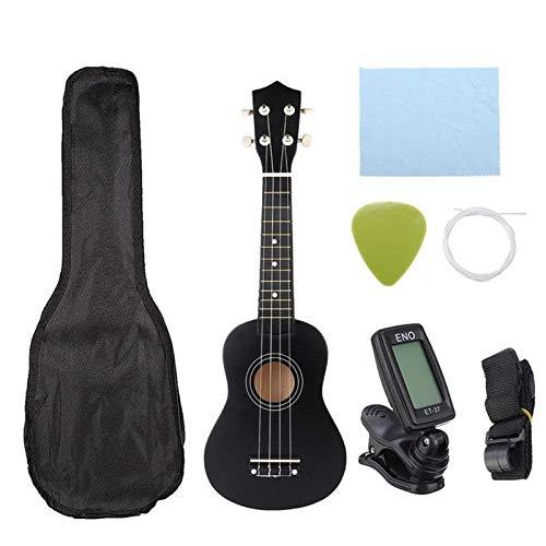 Guitarra De Madera MacizaUkelele Soprano Económico De 21 Pulgadas, Instrumento Musical Uke Con Bolsa De Concierto, Sintonizador De CuerdasPrincipiantes